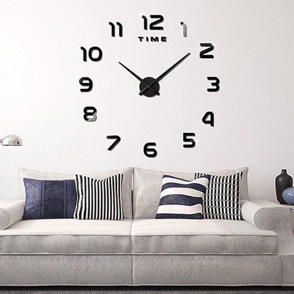 Living Room Big  Clock 3D Creative Art Wall Stick Watch DIY Clock Fashion Digital - BLACK 60-120