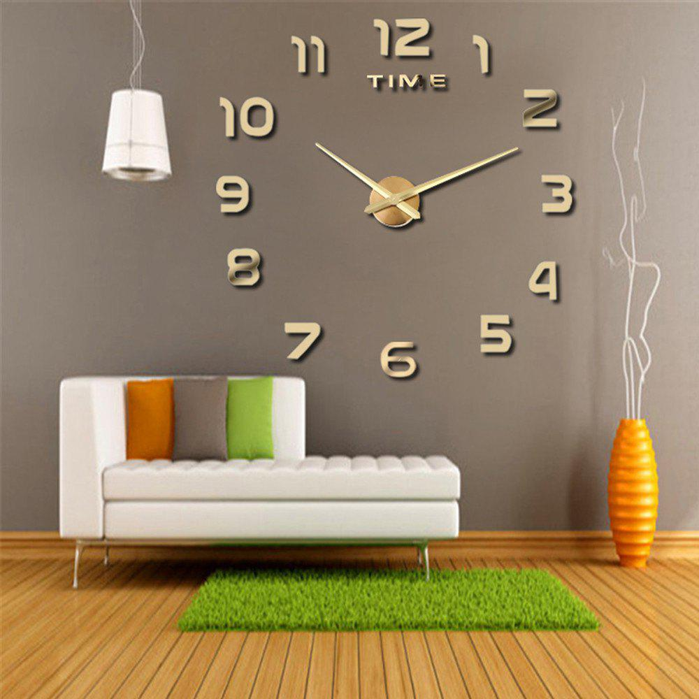 Living Room Big  Clock 3D Creative Art Wall Stick Watch DIY Clock Fashion Digital - GOLDEN 60-120