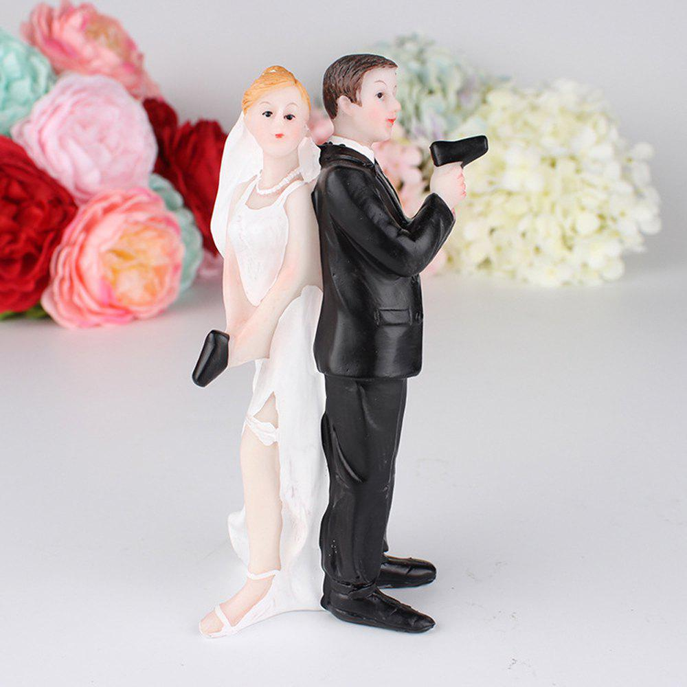 The  Armed Bride And Groom Cake Topper Decoration - multicolor