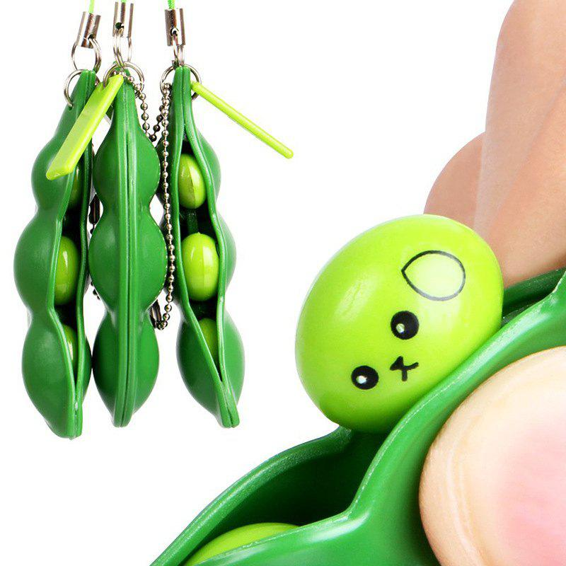 New Jumbo Squishy Creative Green Soy Bean Clip Squeeze Toy - GREEN