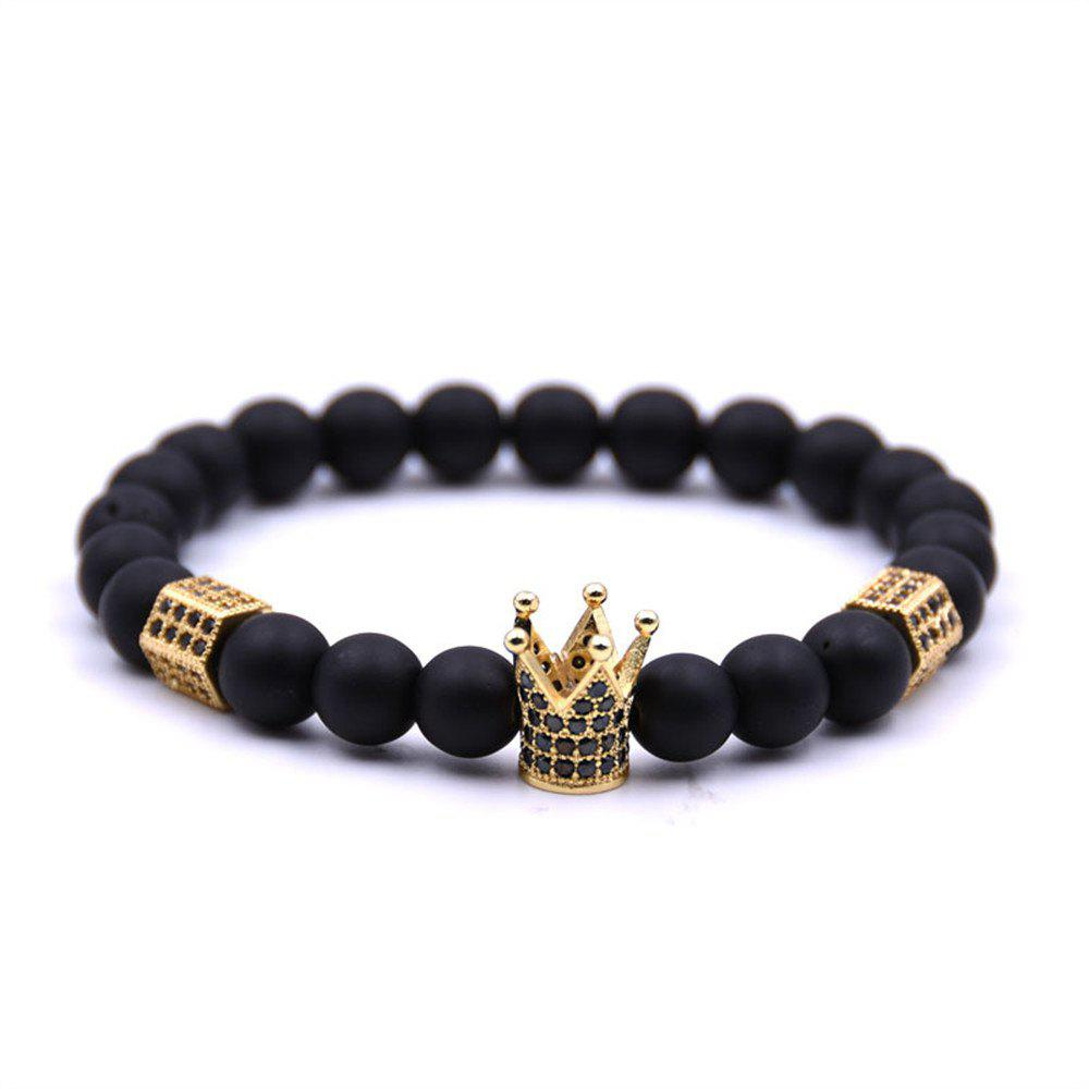 Fashion New Diamond Crown Matte Blackstone Bracelet Woman Elastic Rope - GOLDEN