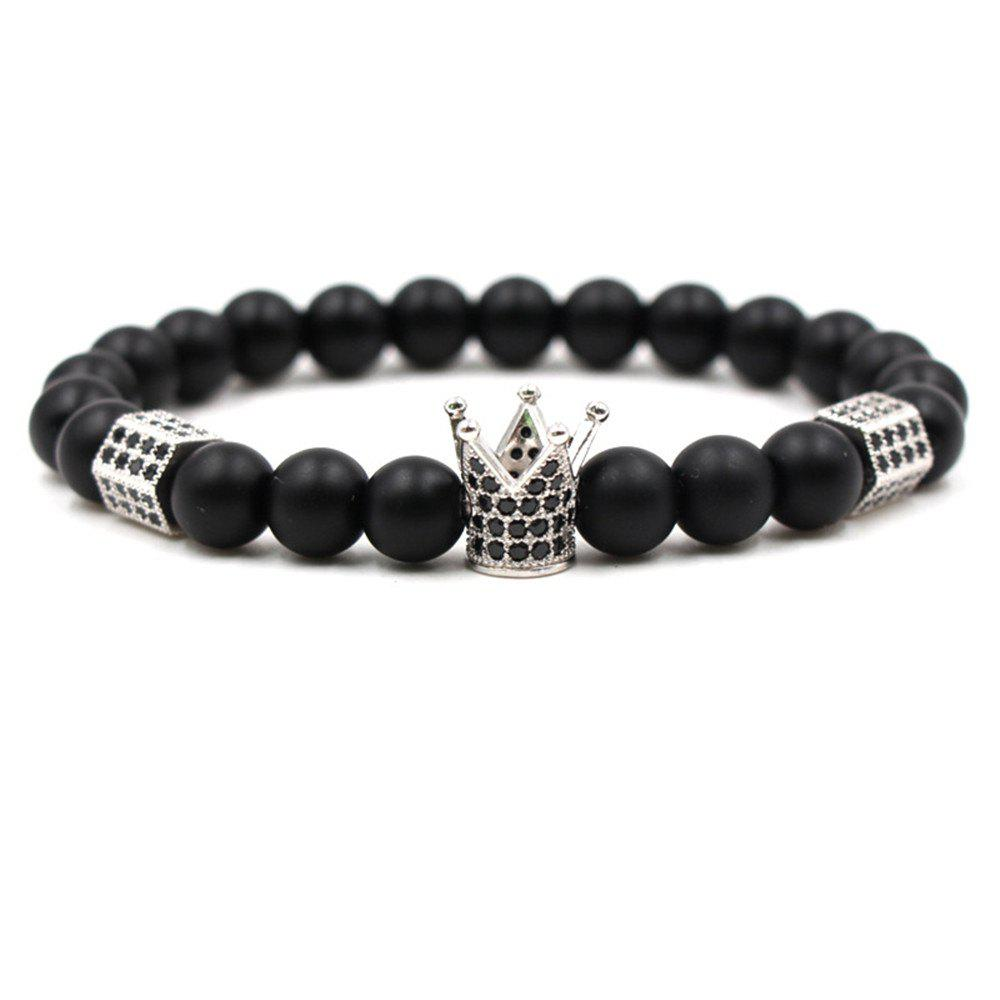 Fashion New Diamond Crown Matte Blackstone Bracelet Woman Elastic Rope - SILVER