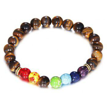 Fashion Tiger Eye pierre colorée Yoga Bracelet femme corde élastique - [