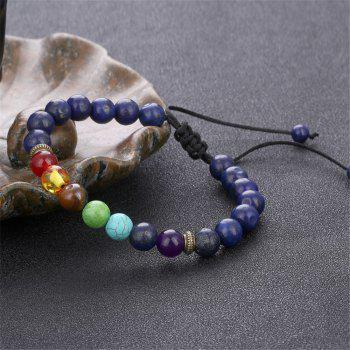 Seven Chakra Energy Stone Natural Sapphire Tiger Eye Adjustable Braided Yoga Bracelet Woman - BLUE
