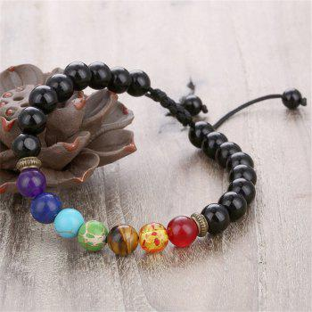 Seven Chakra Energy Stone Natural Sapphire Tiger Eye Adjustable Braided Yoga Bracelet Woman - BLACK D