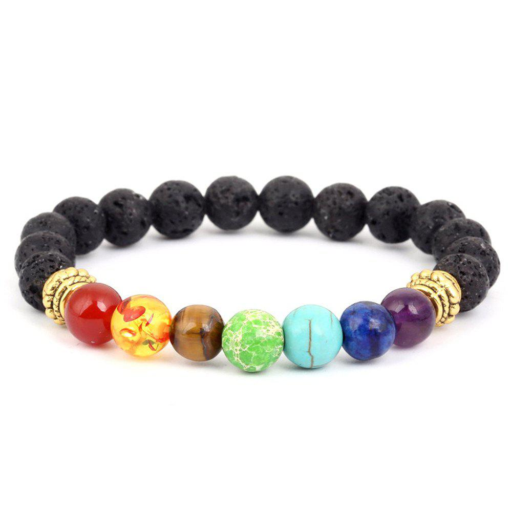 Fashion Volcanic Stone Seven Chakra Yoga Bracelet Woman - GOLDEN