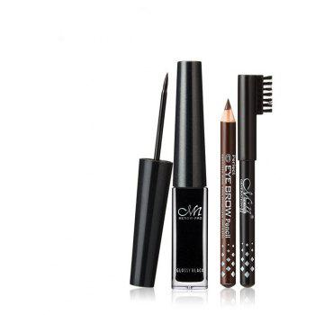 MENOW Waterproof Liquid Eyeliner Lasting for Up to 24 Hours with Black and Brown Eyebrow Pencil Makeup Set 3PCS - BLACK
