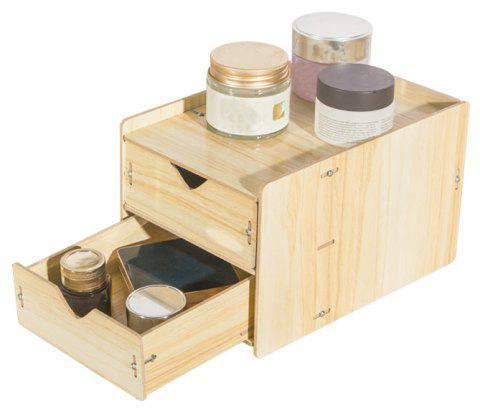 HECARE Wooden Cosmetic Sundry Manual Storage Box Organizer Stand with Drawer - YELLOW 2 LAYER