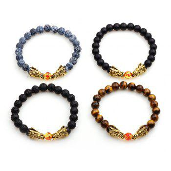The New National Wind Volcano Crack Stone Black Frosted Praised  Tiger Eye Bracelet - DAHLIA 10CM