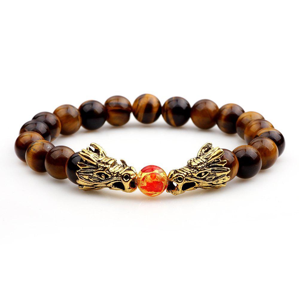 The New National Wind Volcano Crack Stone Black Frosted Praised  Tiger Eye Bracelet - BROWN 10CM
