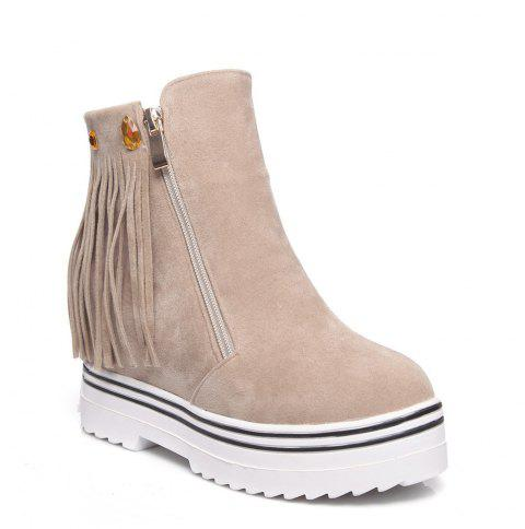 Women Shoes Tassel Ankle Boots - APRICOT 36