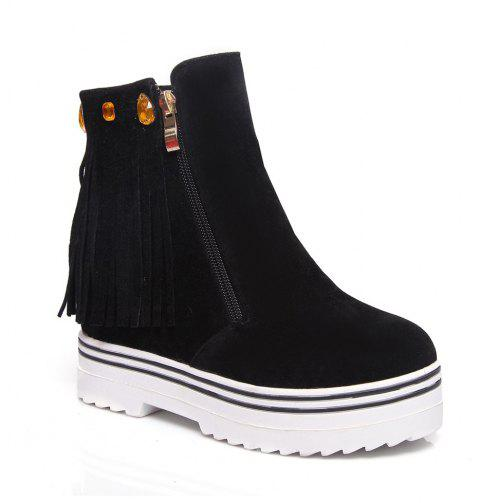 Women Shoes Tassel Ankle Boots - BLACK 40