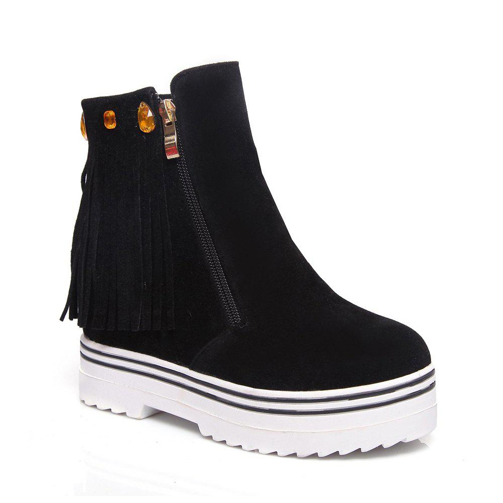 Women Shoes Tassel Ankle Boots - BLACK 43