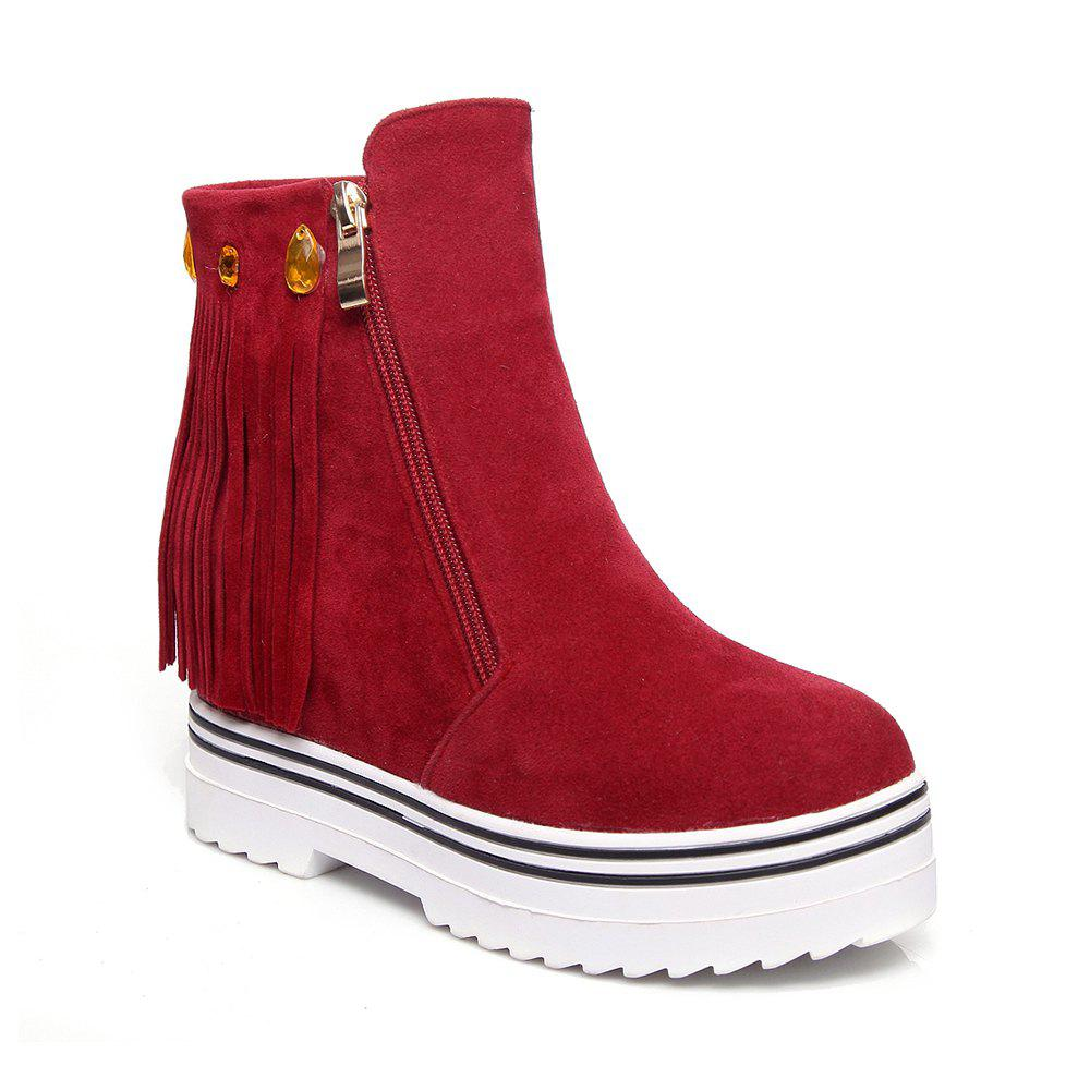 Women Shoes Tassel Ankle Boots - RED 43