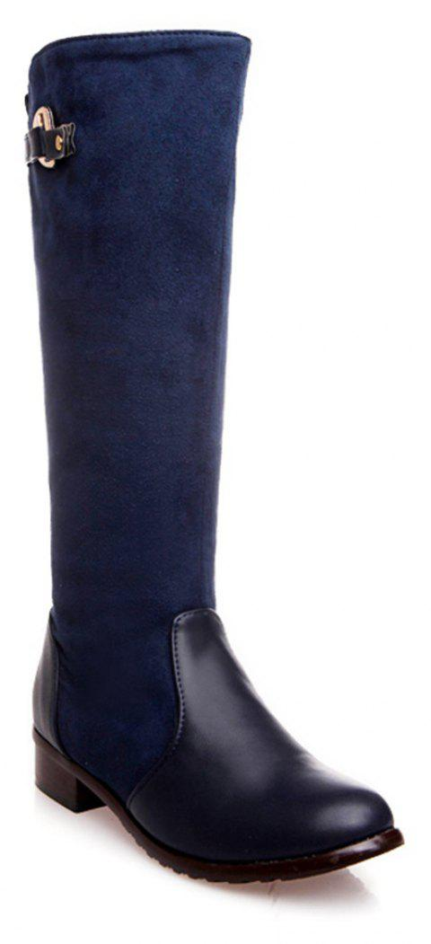 Women Shoes Low Heel Fashion Winter Knee High Boots - BLUE 36