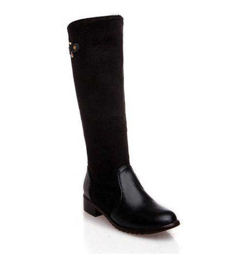 Women Shoes Low Heel Fashion Winter Knee High Boots - BLACK 38