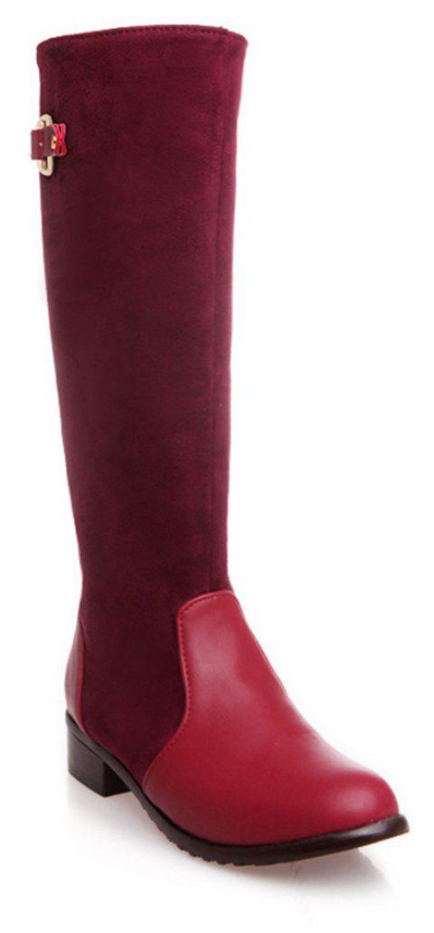 Femmes Chaussures Low Heel Mode Hiver Cuissardes Bottes - Rouge 33