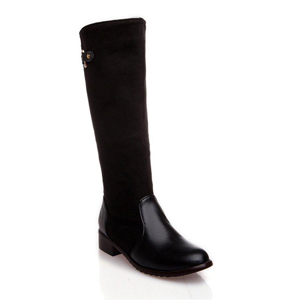 Women Shoes Low Heel Fashion Winter Knee High Boots - BLACK 40