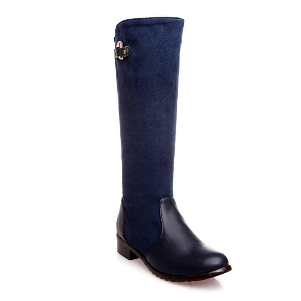 Women Shoes Low Heel Fashion Winter Knee High Boots - BLUE 42