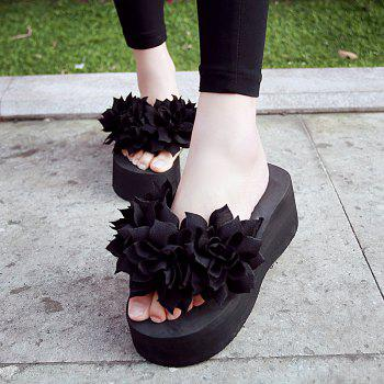 Super Thick Bottom Cloth Flower Cake High-heeled Sandals - BLACK 36