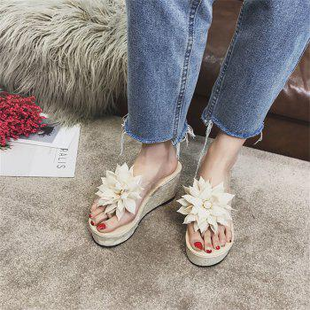 Flower Character Trailing Thick Bottom To Wear Antiskid Feet Beach Cool Slippers - BEIGE / WHITE 37