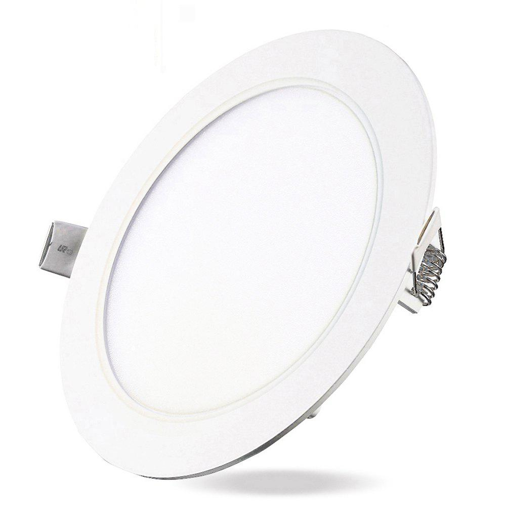 9W Dimmable Round Flat LED Panel Light Lamp Ultra-thin LED Recessed Ceiling Light 5PCS - WHITE