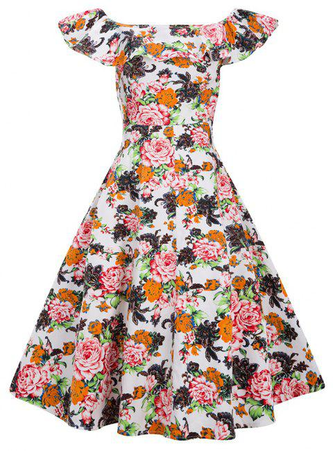 Robe Vintage Femmes Floral Imprimé Off The Shoulder Dress - Blanc S