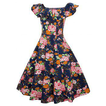 Robe Vintage Femmes Floral Imprimé Off The Shoulder Dress - Bleu Cadette XL
