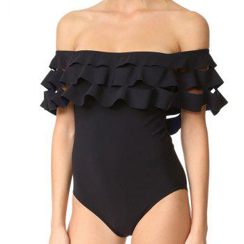 Off Shoulder Scalloped One Piece Swimsuit - BLACK L