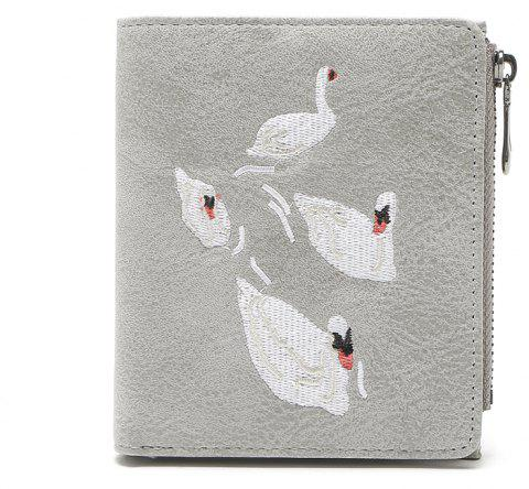 Fashion Women Short Wallet Flamingos Embroider Design PU Leather Zipper Card Holder Mini Female Coin Purse - GRAY