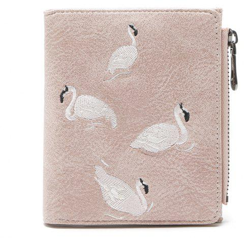 Mode Femmes Court Portefeuille Flamants Embroider Conception PU En Cuir Zipper Carte Titulaire Mini Femme Coin Bourse - Rose