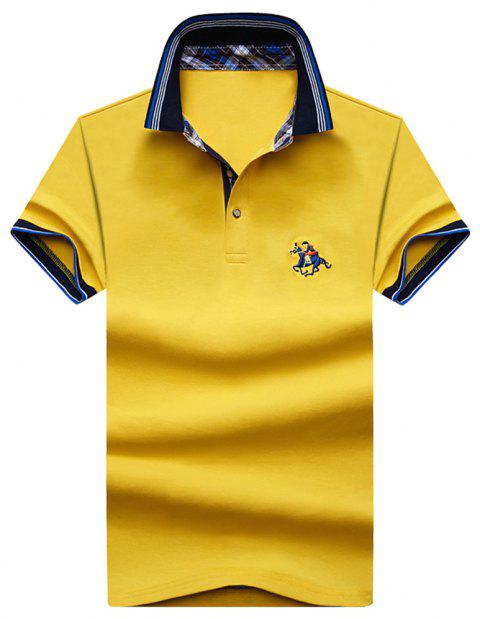 Mens Polo Shirt Coton Manches Courtes T-Shirt Man Polo T-Shirt Homme Tops - Jaune 2XL