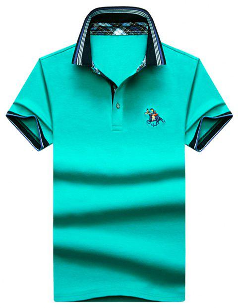 Mens Polo Shirt Coton Manches Courtes T-Shirt Man Polo T-Shirt Homme Tops - Herbe Verte XL