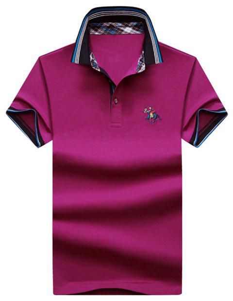 Mens Polo Shirt Cotton Short Sleeves T-Shirt Man Polo T-Shirt Male Tops - ROSE RED L