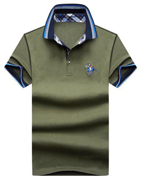 Mens Polo Shirt Coton Manches Courtes T-Shirt Man Polo T-Shirt Homme Tops - Armée verte 2XL
