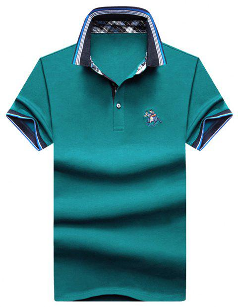Mens Polo Shirt Coton Manches Courtes T-Shirt Man Polo T-Shirt Homme Tops - Lac bleu 2XL