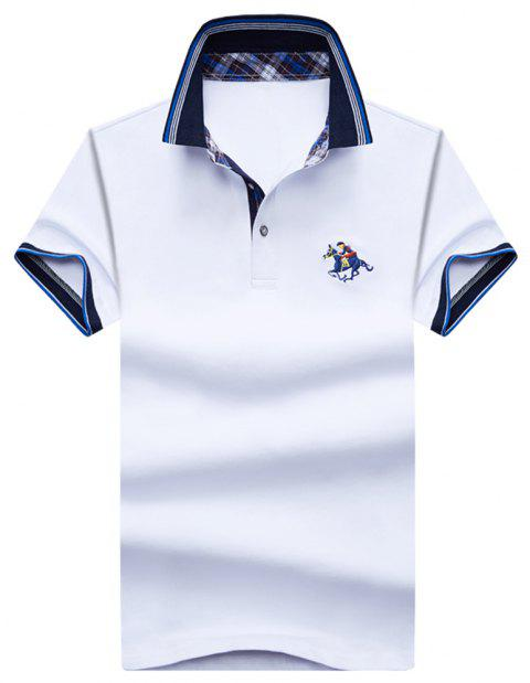 Mens Polo Shirt Cotton Short Sleeves T-Shirt Man Polo T-Shirt Male Tops - WHITE 2XL