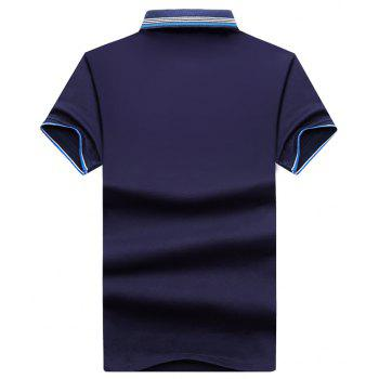 Mens Polo Shirt Coton Manches Courtes T-Shirt Man Polo T-Shirt Homme Tops - Bleu Cadette 3XL