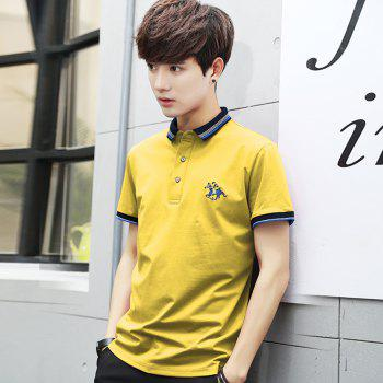 Mens Polo Shirt Coton Manches Courtes T-Shirt Man Polo T-Shirt Homme Tops - [
