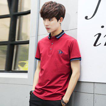 Mens Polo Shirt Cotton Short Sleeves T-Shirt Man Polo T-Shirt Male Tops - PEACH RED 3XL
