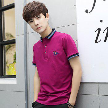 Mens Polo Shirt Cotton Short Sleeves T-Shirt Man Polo T-Shirt Male Tops - ROSE RED 2XL