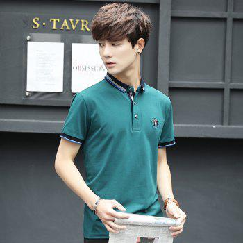 Mens Polo Shirt Cotton Short Sleeves T-Shirt Man Polo T-Shirt Male Tops - LAKE BLUE XL