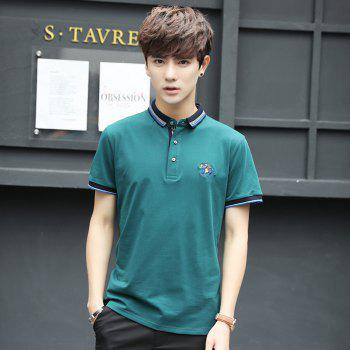 Mens Polo Shirt Cotton Short Sleeves T-Shirt Man Polo T-Shirt Male Tops - LAKE BLUE L