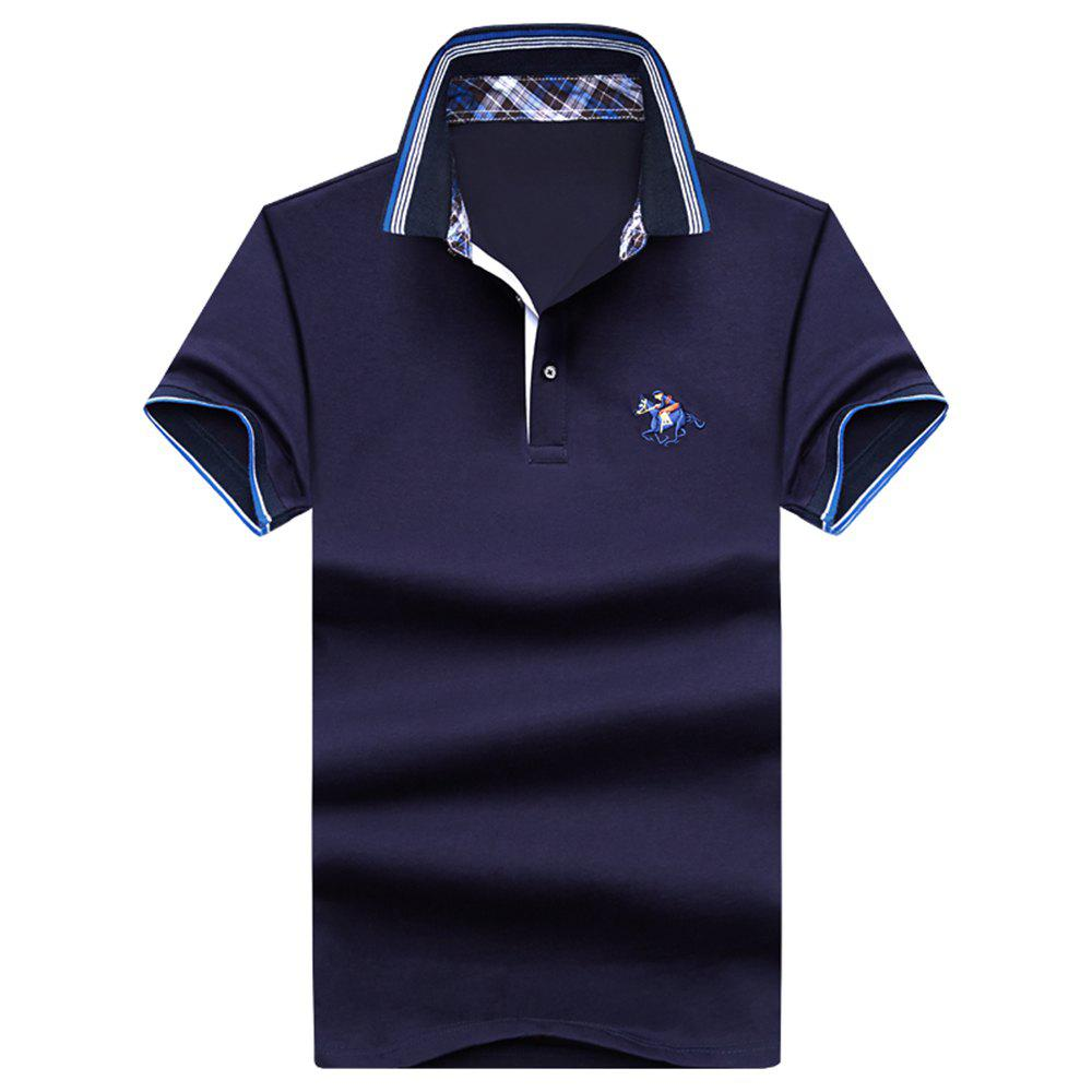 Mens Polo Shirt Coton Manches Courtes T-Shirt Man Polo T-Shirt Homme Tops - Cadetblue 3XL