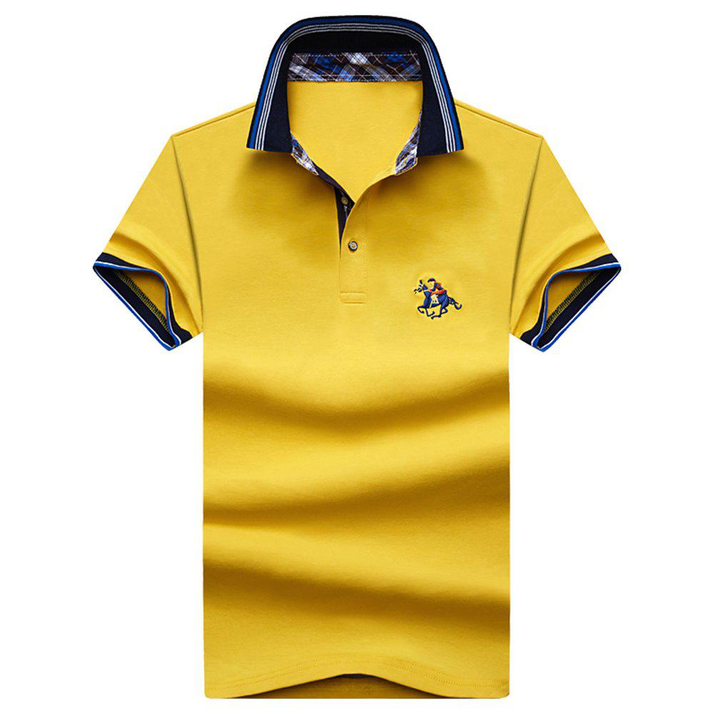 Mens Polo Shirt Coton Manches Courtes T-Shirt Man Polo T-Shirt Homme Tops - Jaune XL