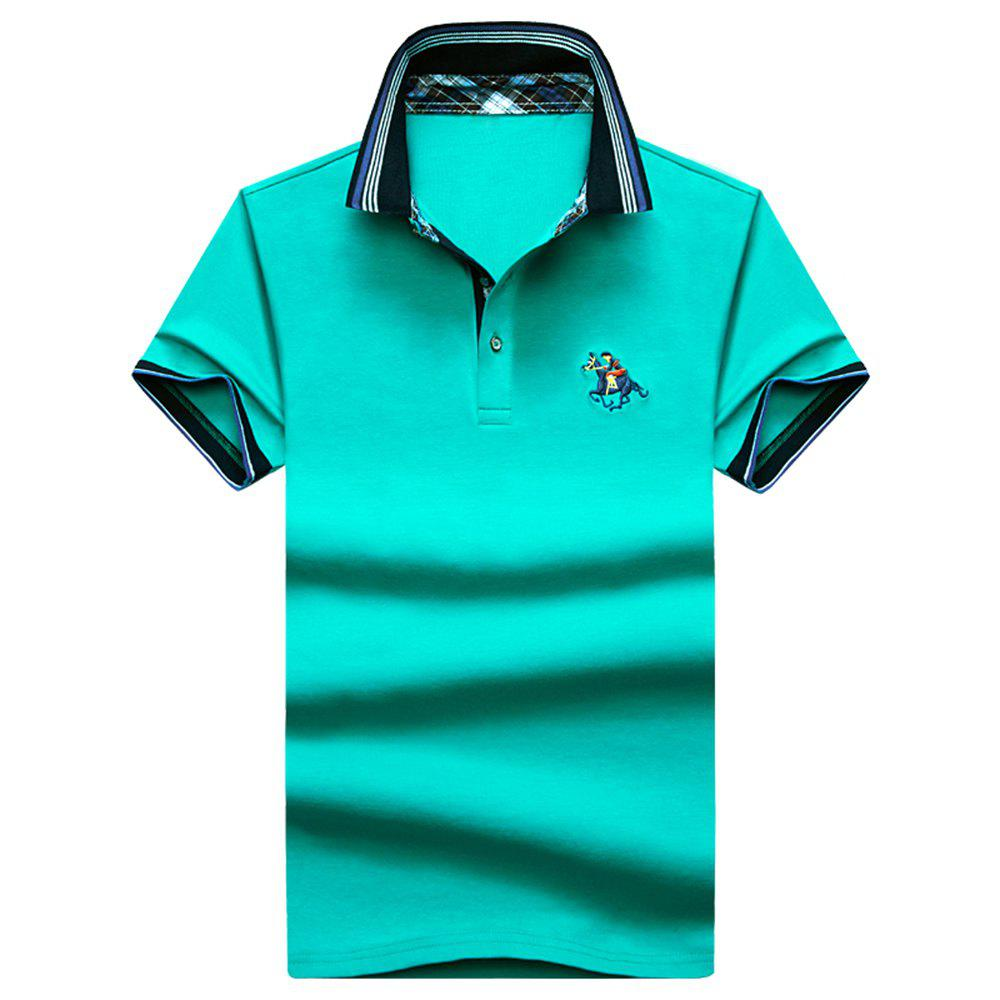 Mens Polo Shirt Coton Manches Courtes T-Shirt Man Polo T-Shirt Homme Tops - Herbe Verte 3XL