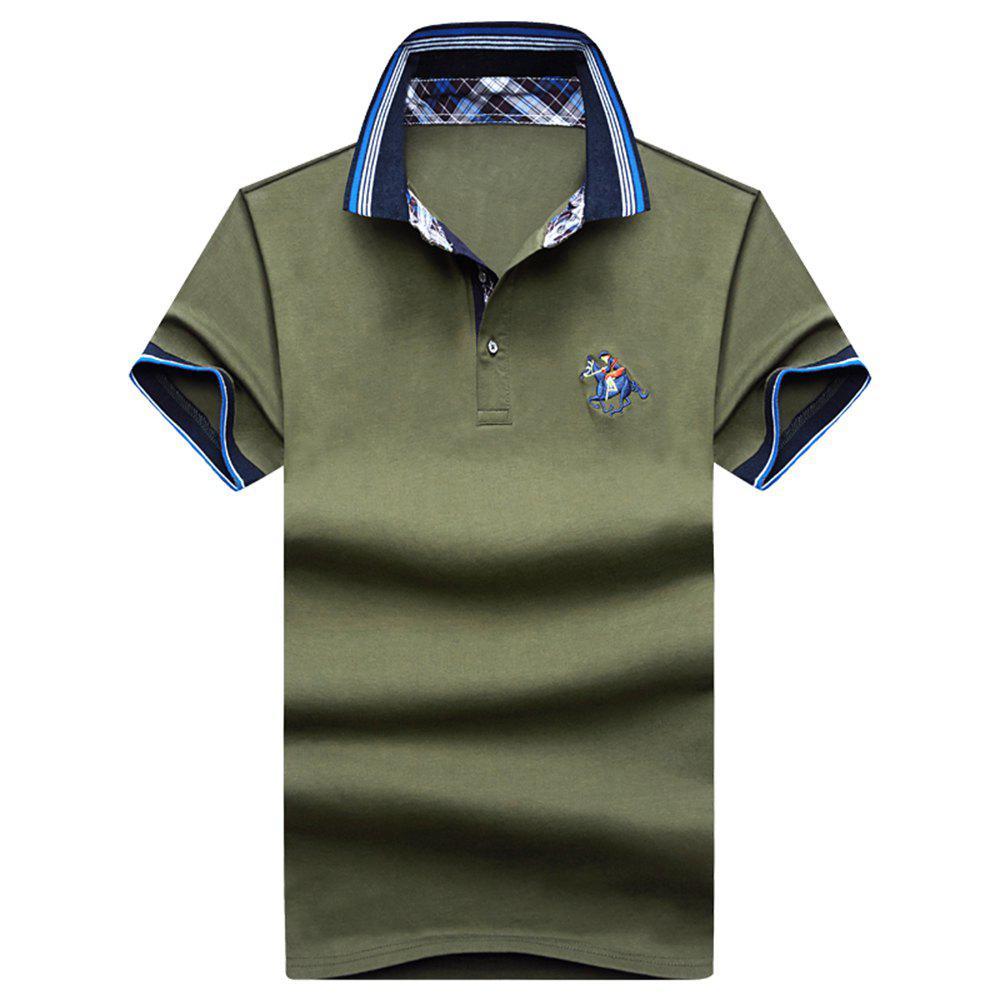 Mens Polo Shirt Cotton Short Sleeves T-Shirt Man Polo T-Shirt Male Tops - ARMYGREEN L