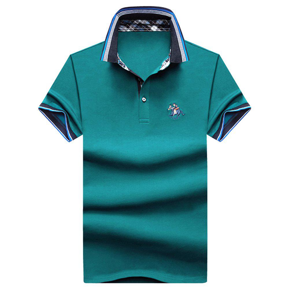 Mens Polo Shirt Cotton Short Sleeves T-Shirt Man Polo T-Shirt Male Tops - LAKE BLUE 2XL