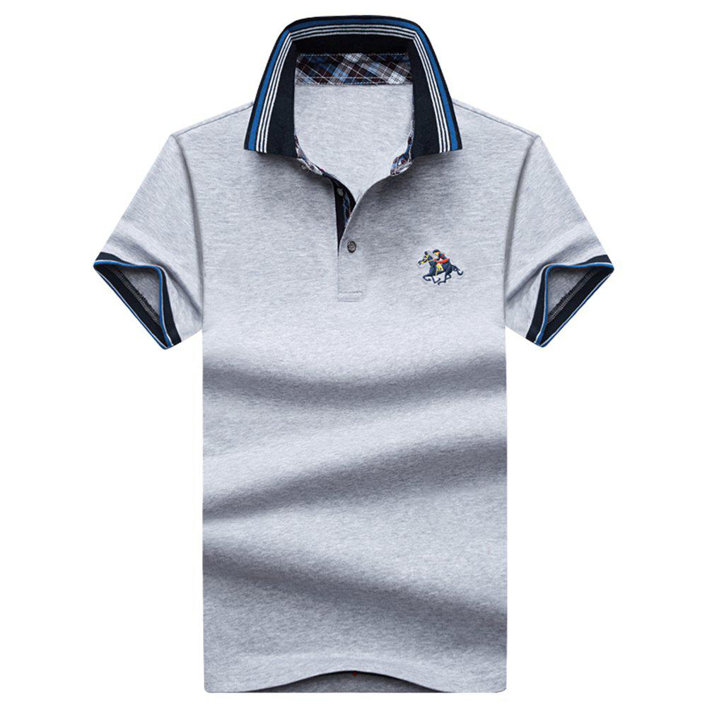 Mens Polo Shirt Coton Manches Courtes T-Shirt Man Polo T-Shirt Homme Tops - Gris L