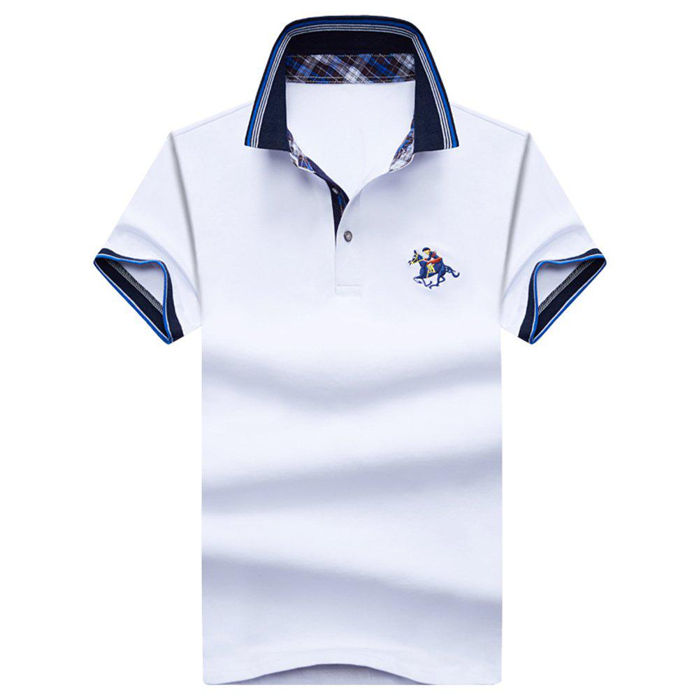 Mens Polo Shirt Coton Manches Courtes T-Shirt Man Polo T-Shirt Homme Tops - Blanc L